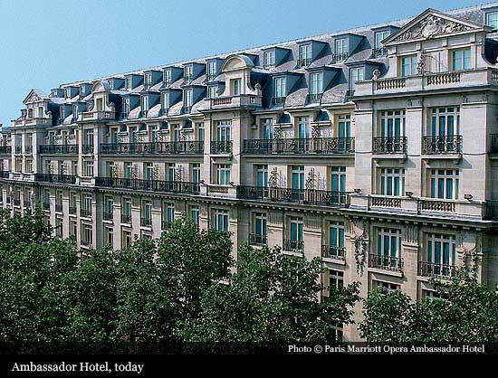 Paris marriott opera ambassador hotel 1927 paris for Reservation hotel paris